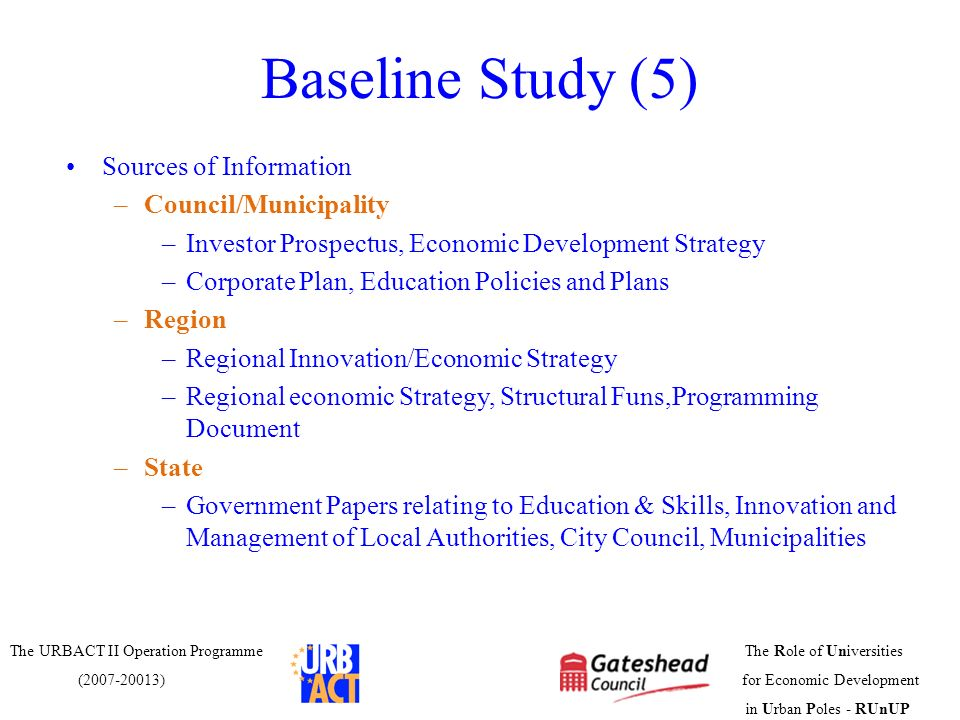 Baseline Study (5) Sources of Information Council/Municipality