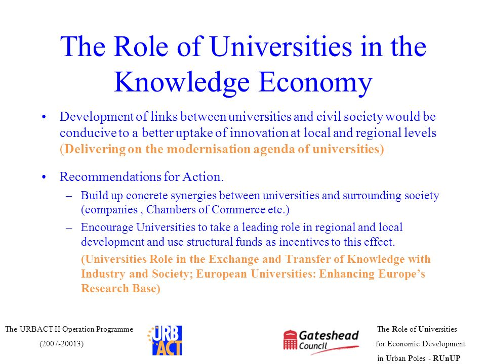 The Role of Universities in the Knowledge Economy