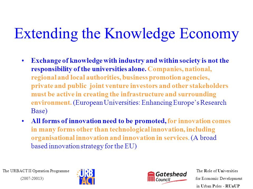Extending the Knowledge Economy