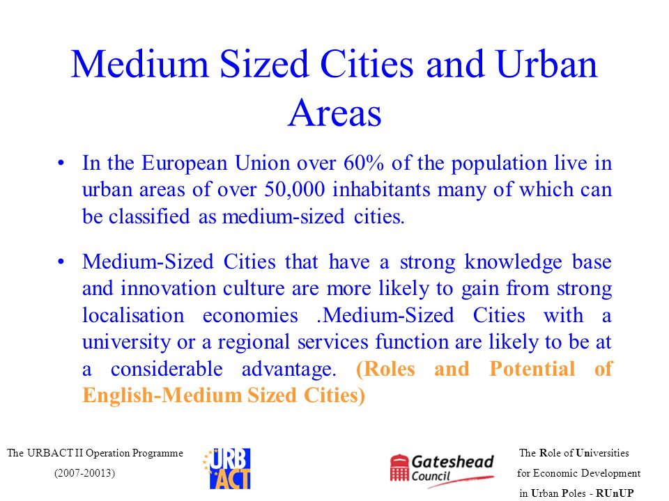 Medium Sized Cities and Urban Areas