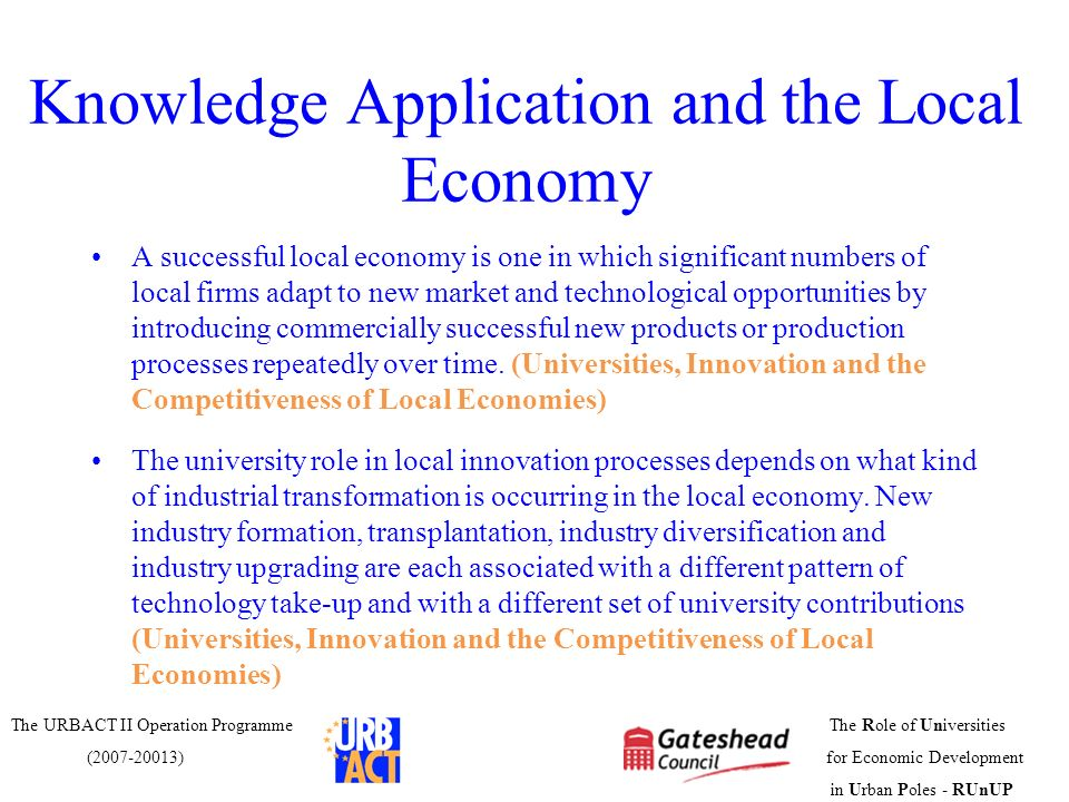 Knowledge Application and the Local Economy