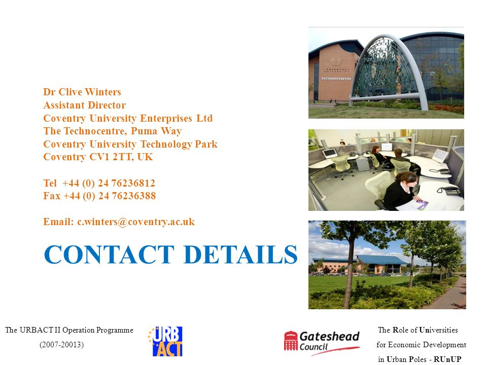 CONTACT DETAILS Dr Clive Winters Assistant Director