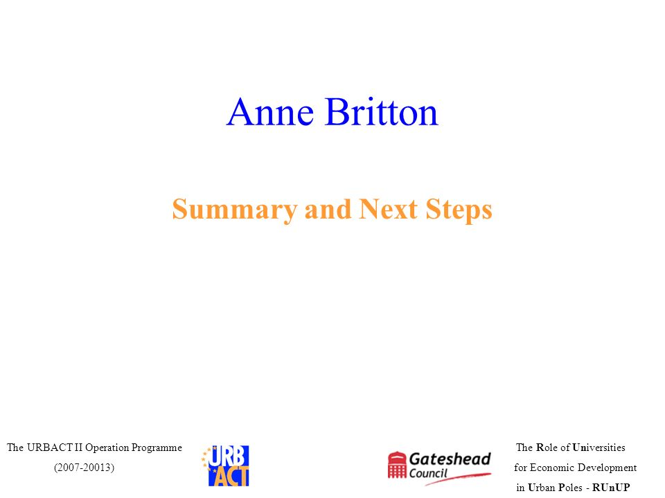 Anne Britton Summary and Next Steps
