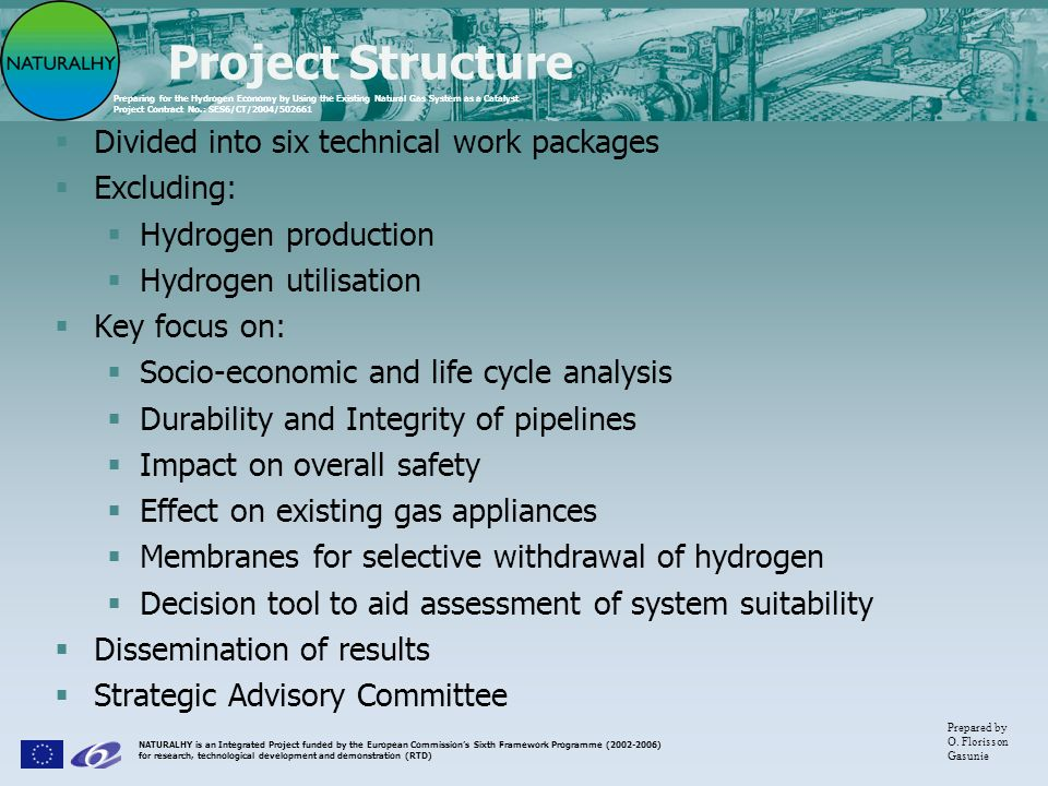 Project Structure Divided into six technical work packages Excluding: