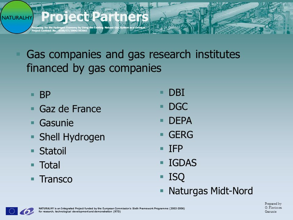 Project Partners Gas companies and gas research institutes financed by gas companies. DBI. DGC. DEPA.