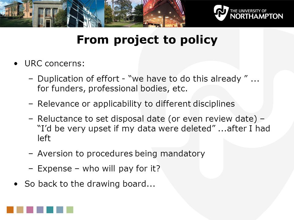 From project to policy URC concerns: