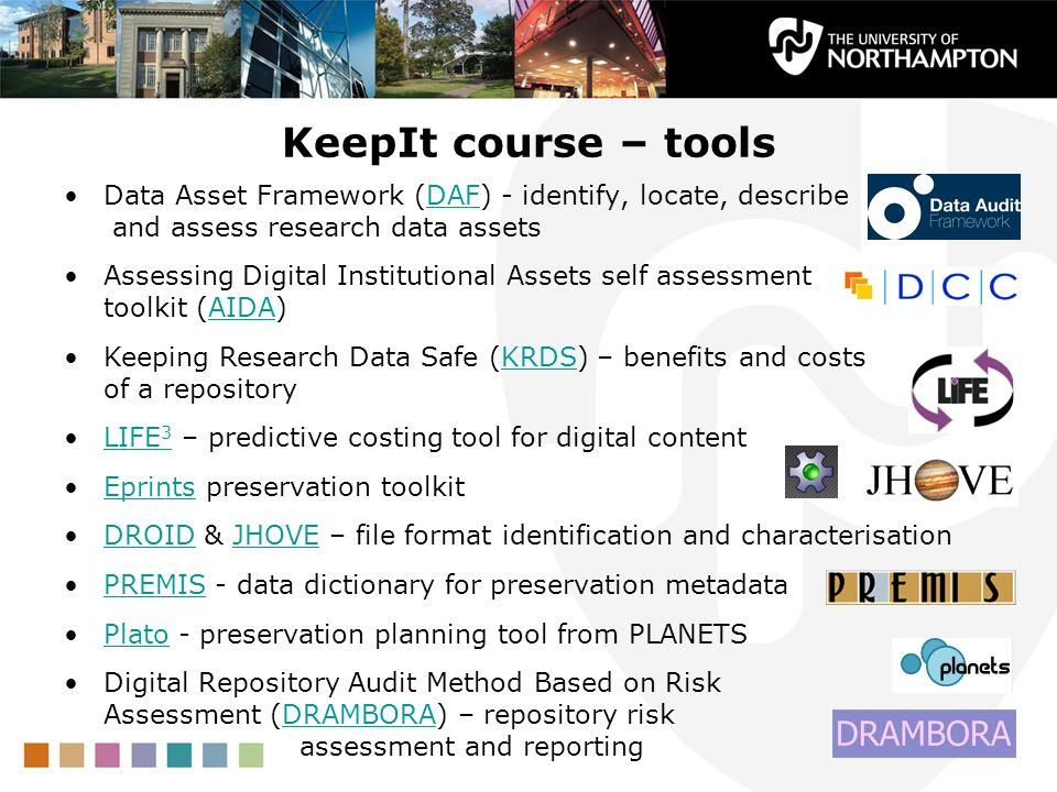 KeepIt course – toolsData Asset Framework (DAF) - identify, locate, describe and assess research data assets.