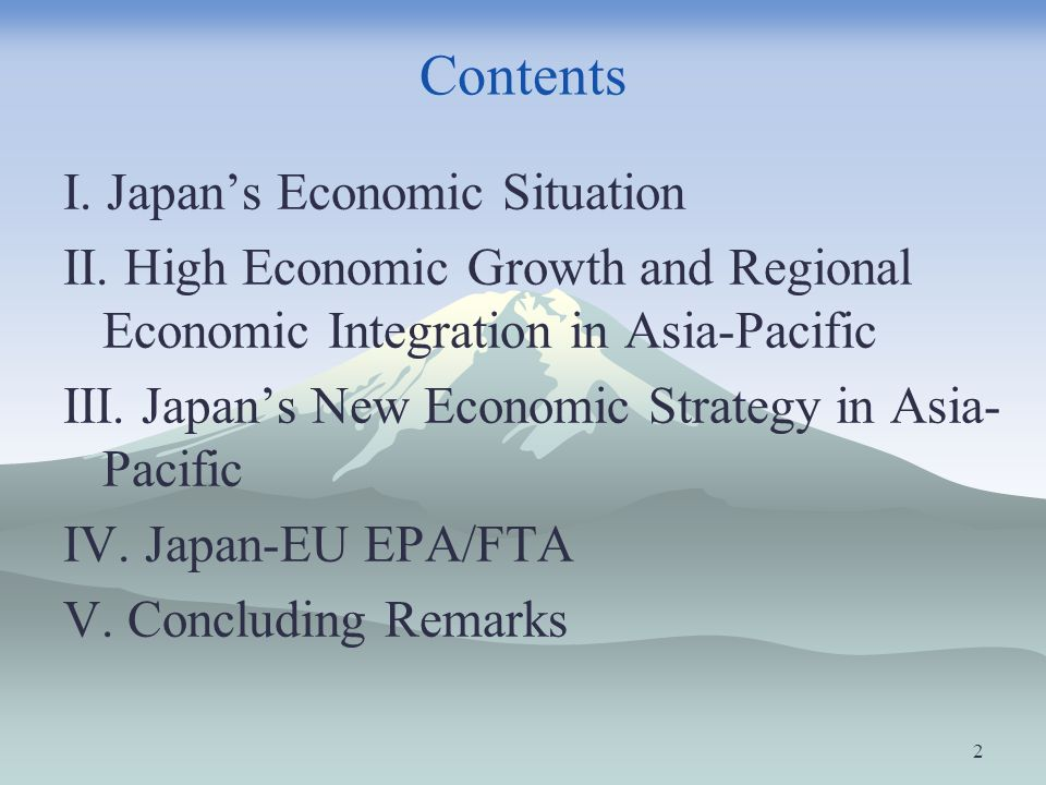 Contents I. Japan's Economic Situation