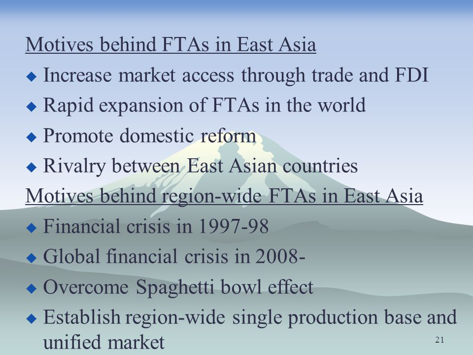 Motives behind FTAs in East Asia