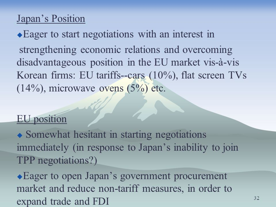 Japan's PositionEager to start negotiations with an interest in.