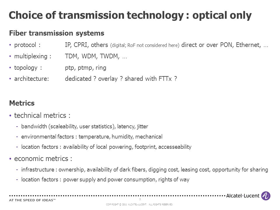 Choice of transmission technology : optical only