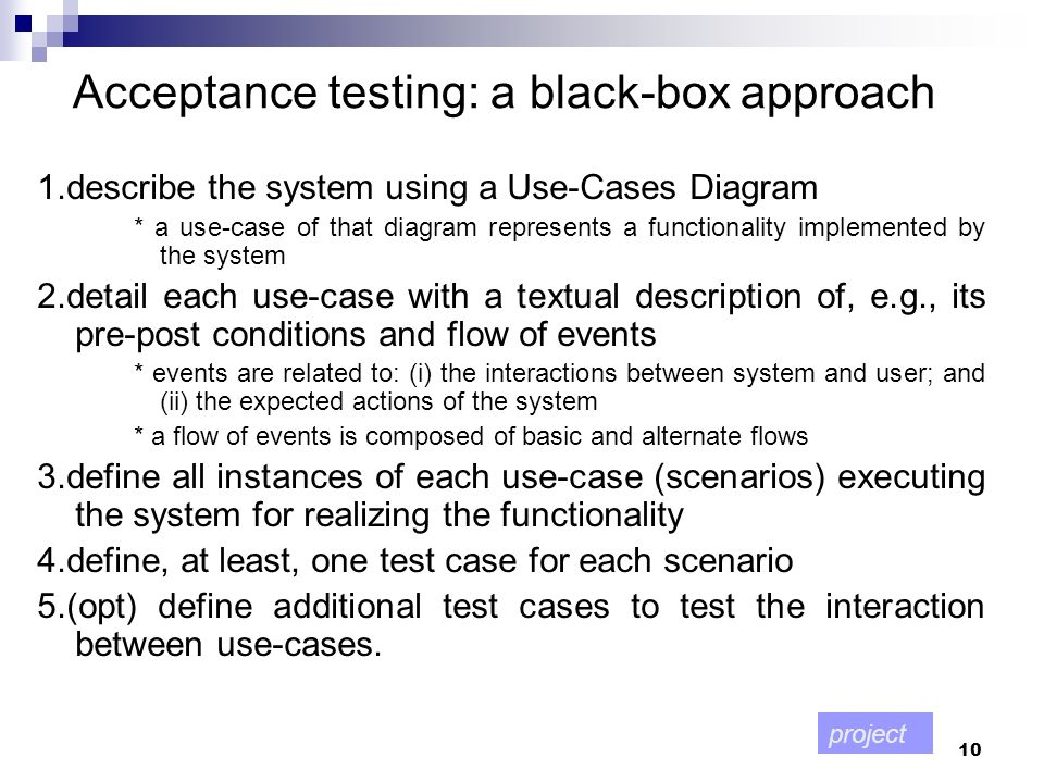 Acceptance testing: a black-box approach