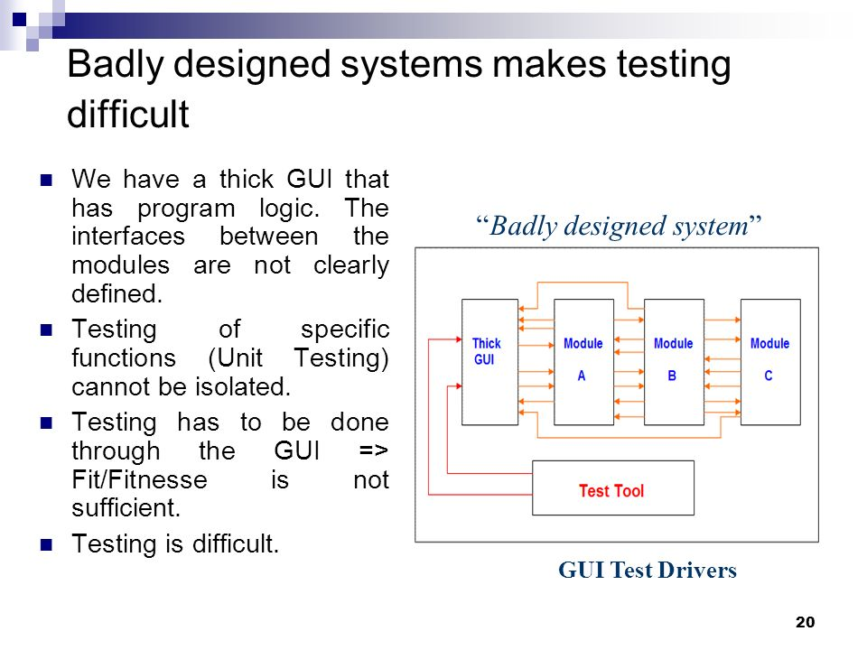 Badly designed systems makes testing difficult