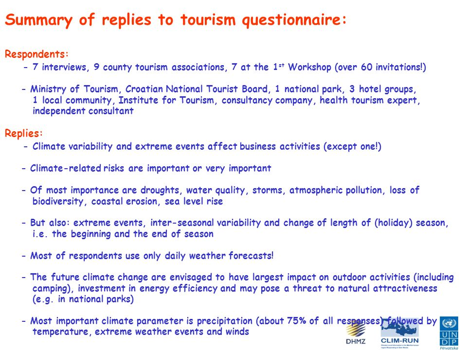 Summary of replies to tourism questionnaire: