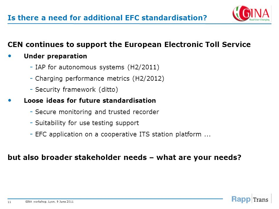 Is there a need for additional EFC standardisation