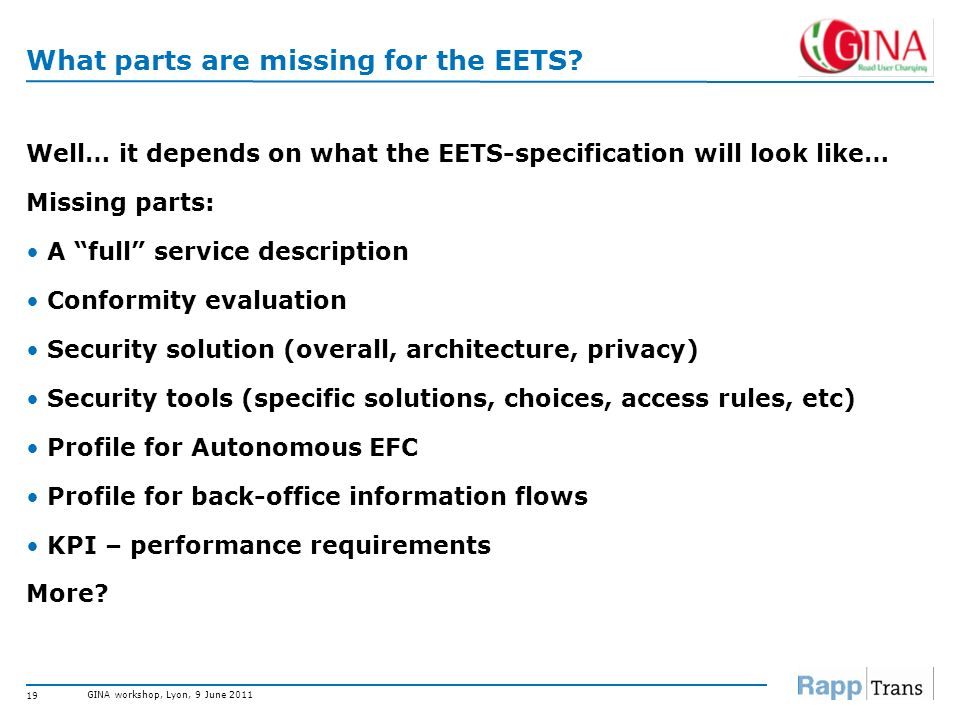 What parts are missing for the EETS