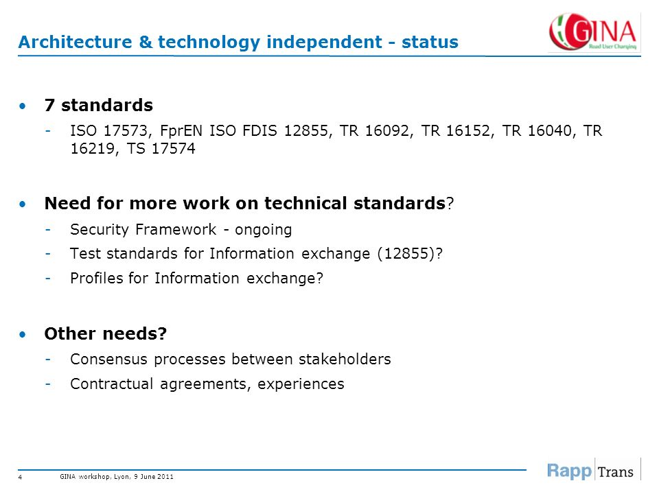 Architecture & technology independent - status