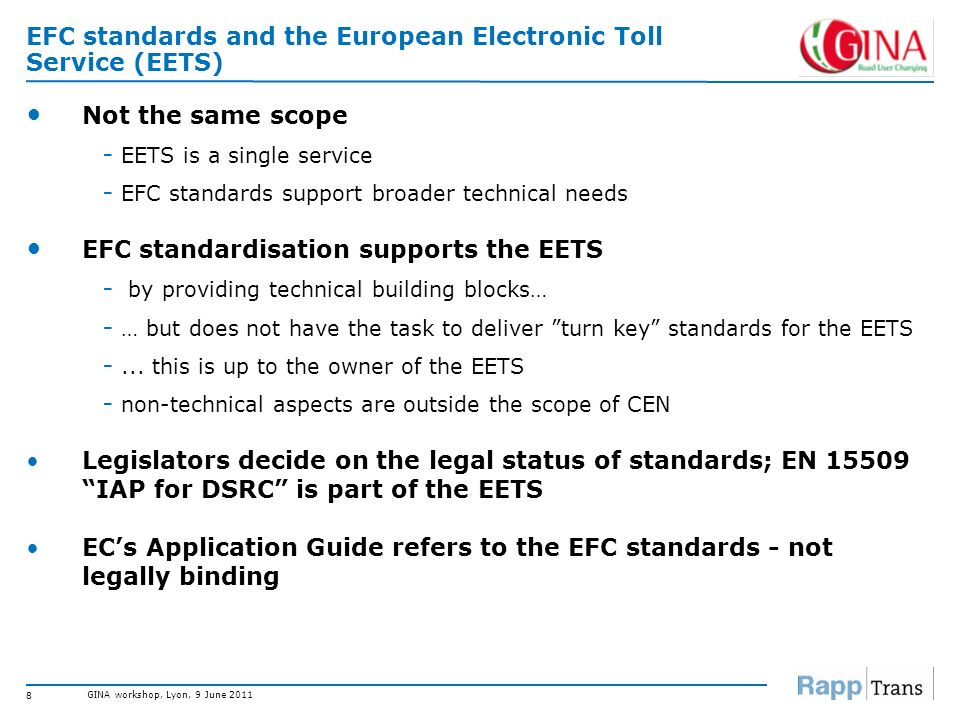 EFC standards and the European Electronic Toll Service (EETS)