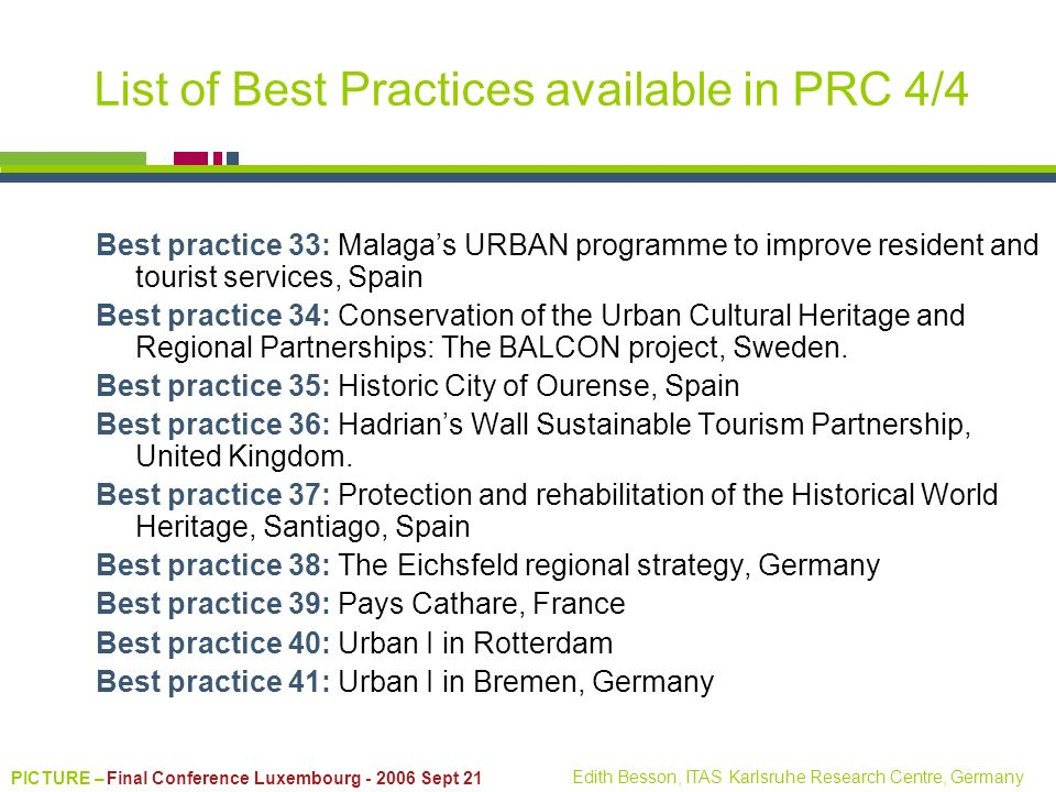 List of Best Practices available in PRC 4/4