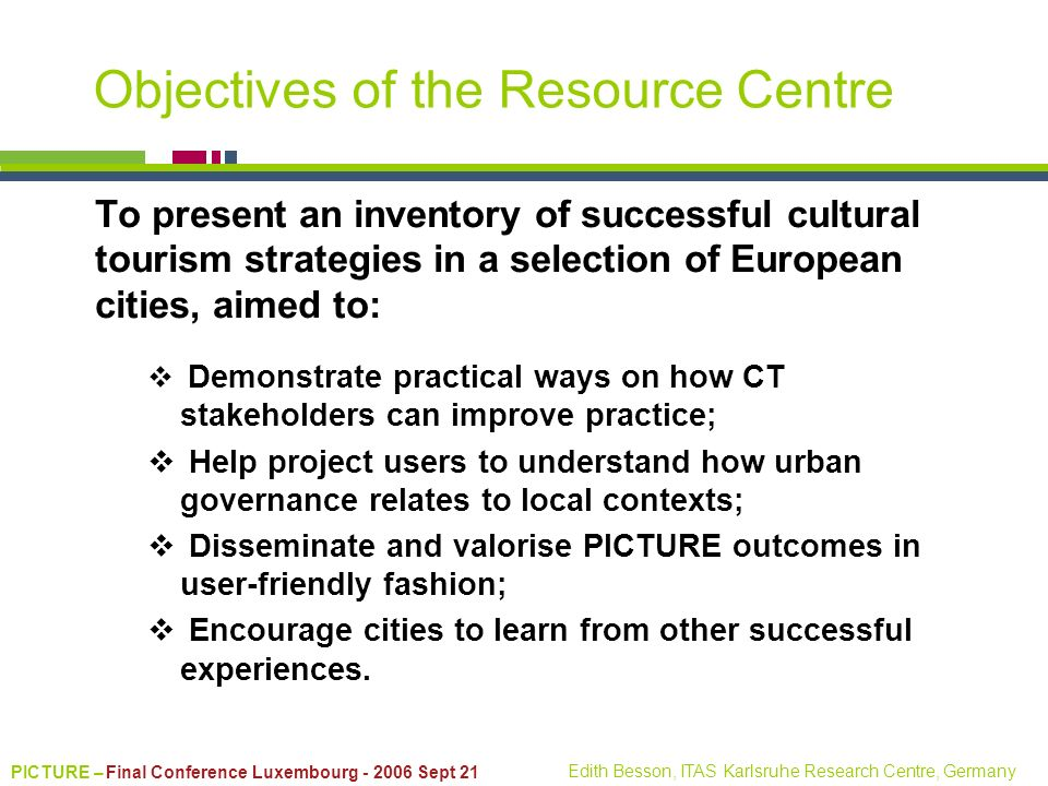 Objectives of the Resource Centre