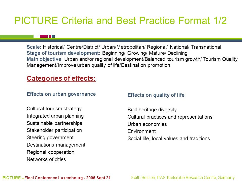PICTURE Criteria and Best Practice Format 1/2