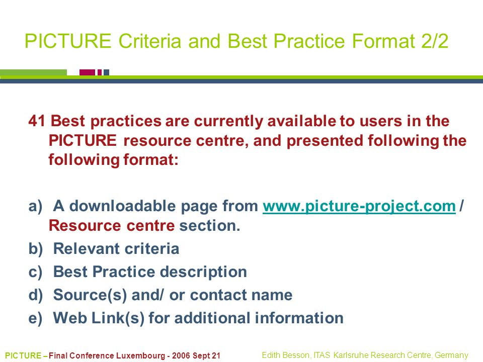 PICTURE Criteria and Best Practice Format 2/2