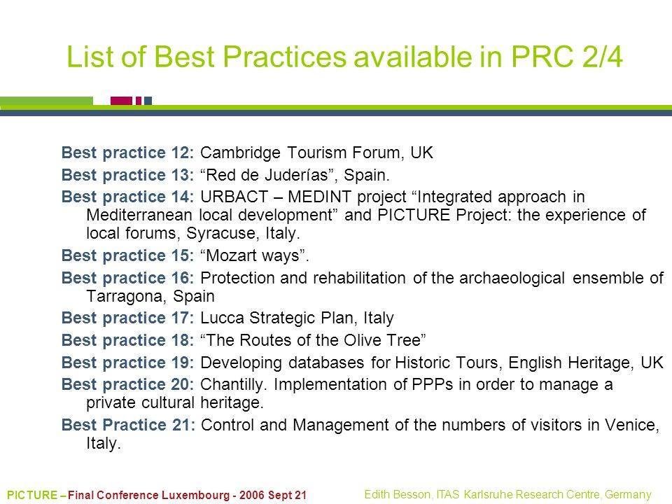 List of Best Practices available in PRC 2/4