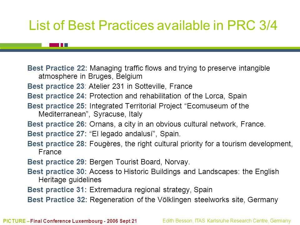 List of Best Practices available in PRC 3/4