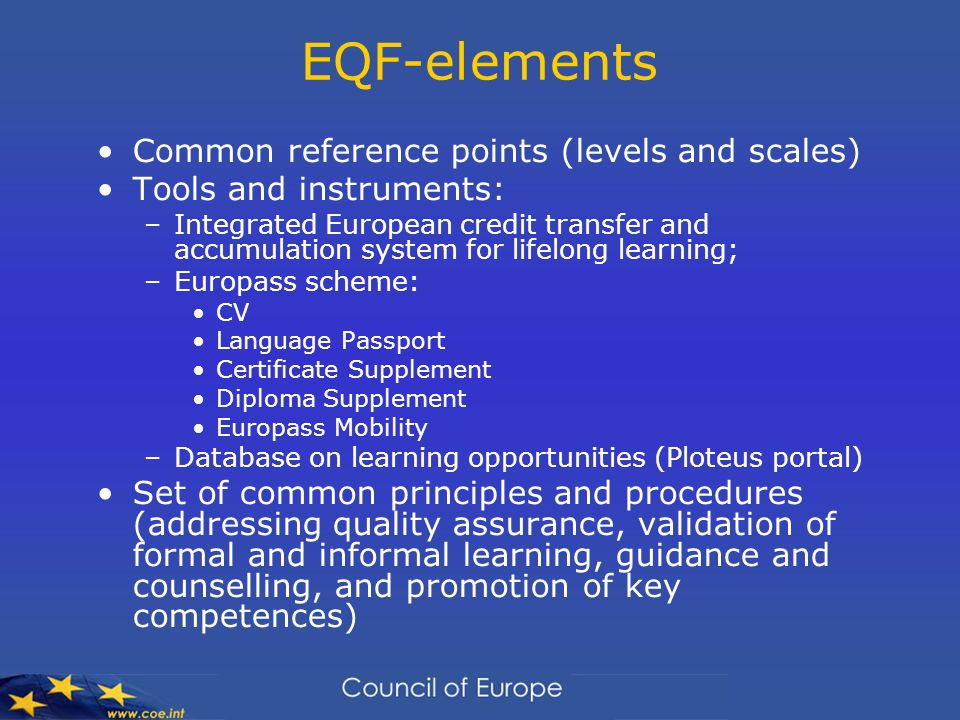 EQF-elements Common reference points (levels and scales)