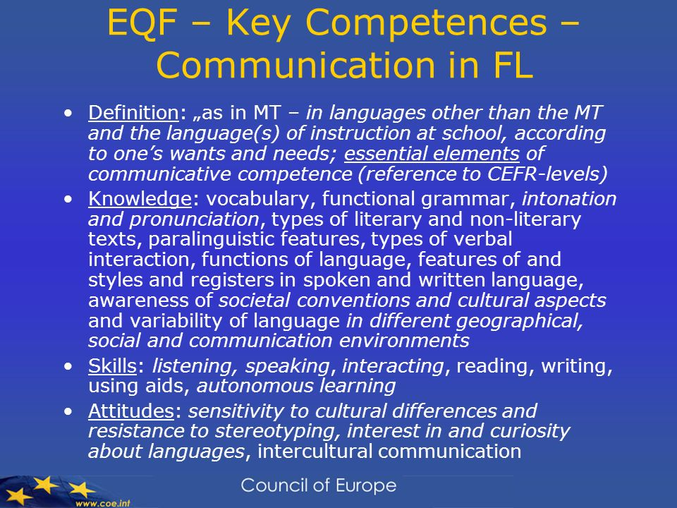EQF – Key Competences – Communication in FL
