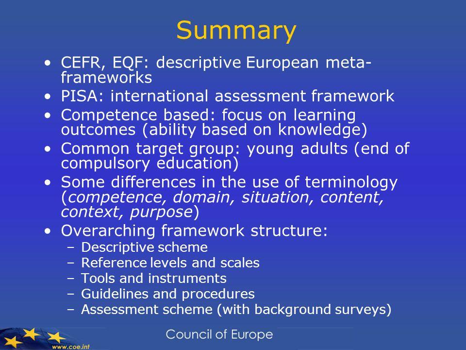 Summary CEFR, EQF: descriptive European meta-frameworks