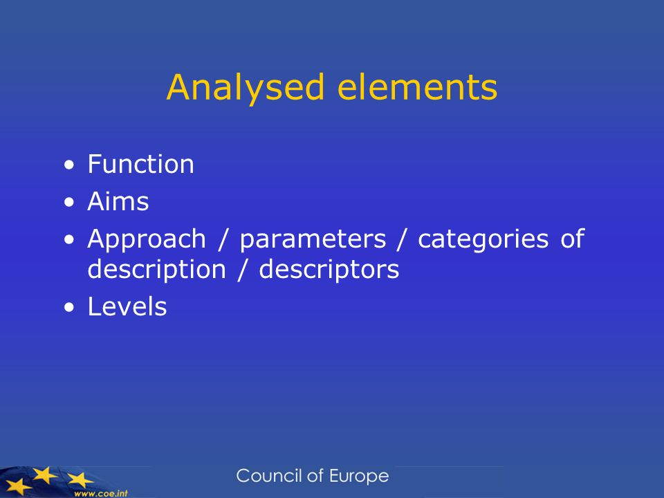Analysed elements Function Aims