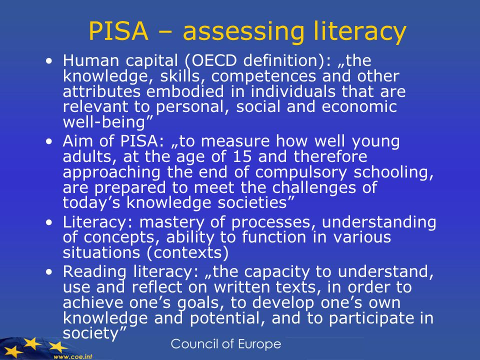PISA – assessing literacy
