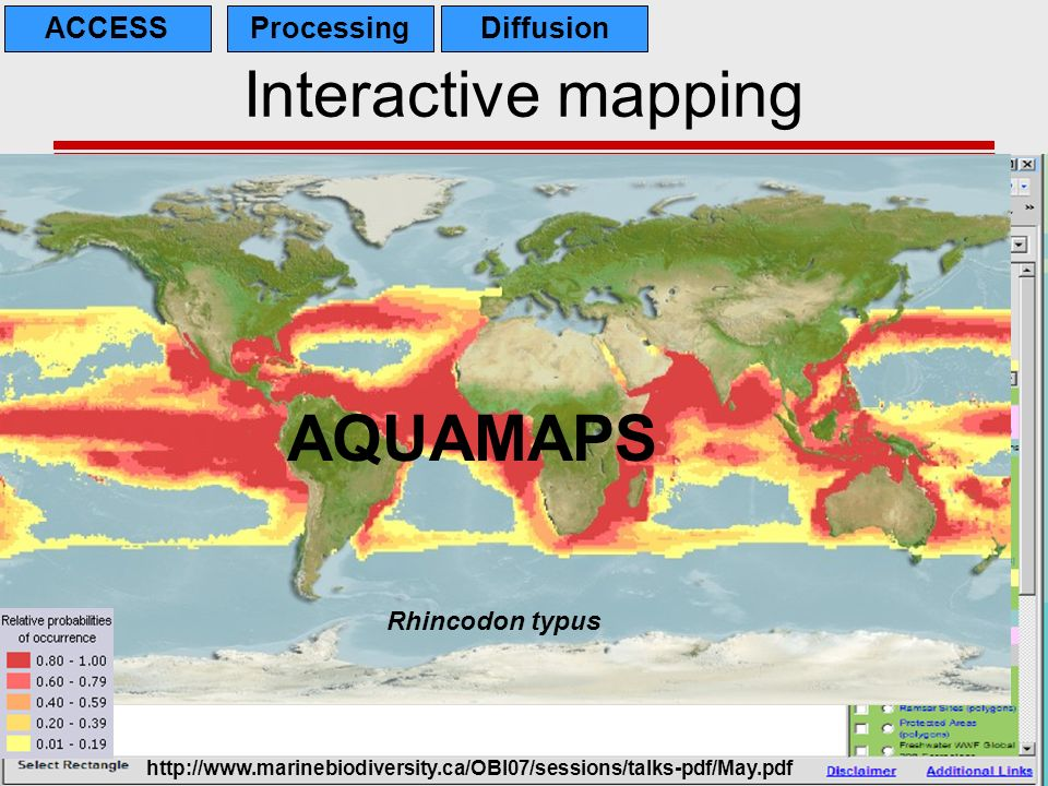 Interactive mapping AQUAMAPS IMAPS Caspian ACCESS Processing Diffusion
