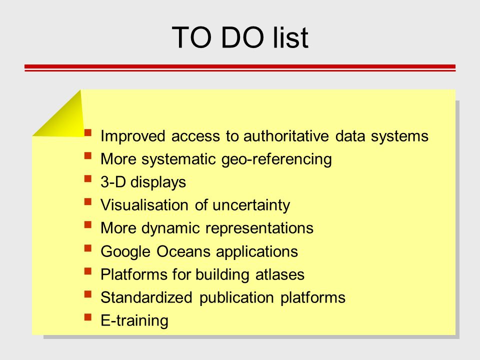 TO DO list Improved access to authoritative data systems