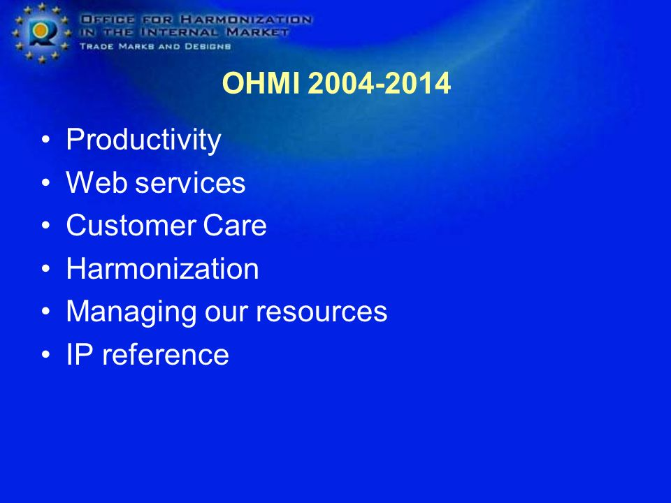 OHMI 2004-2014 Productivity. Web services. Customer Care. Harmonization. Managing our resources.