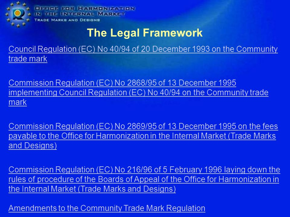 The Legal Framework Council Regulation (EC) No 40/94 of 20 December 1993 on the Community trade mark