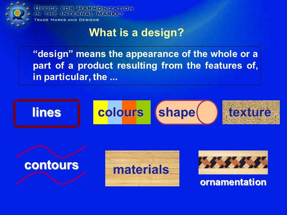 lines colours shape texture contours materials