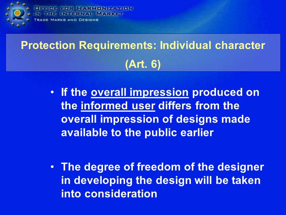 Protection Requirements: Individual character (Art. 6)