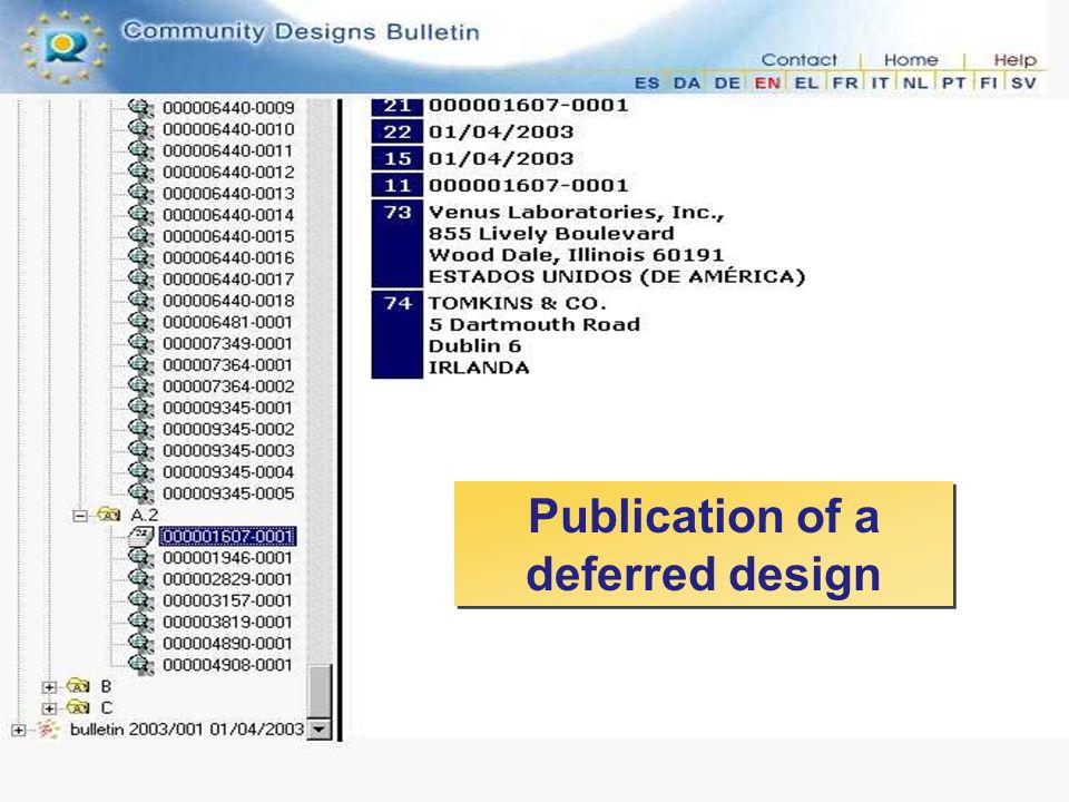 Publication of a deferred design