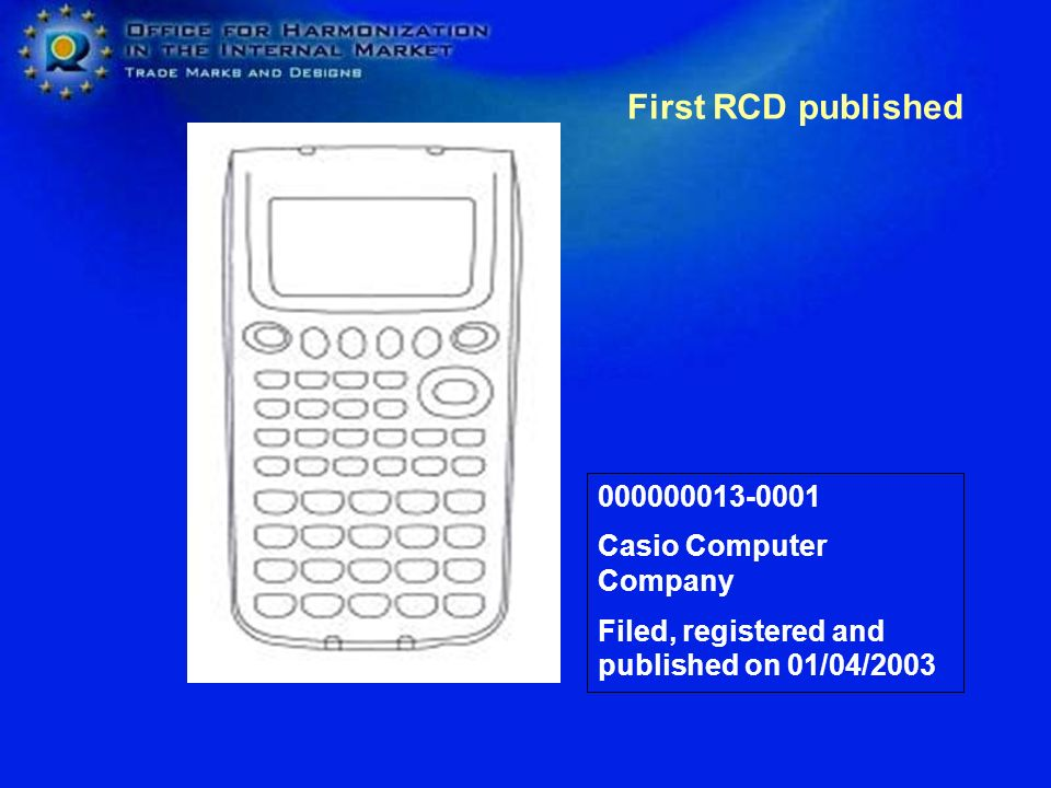 First RCD published 000000013-0001 Casio Computer Company