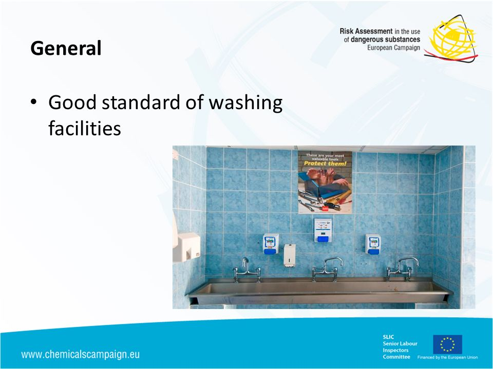 General Good standard of washing facilities
