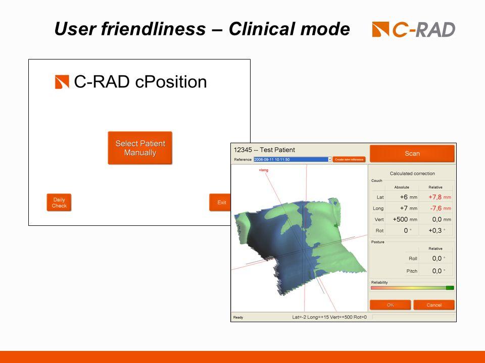 User friendliness – Clinical mode