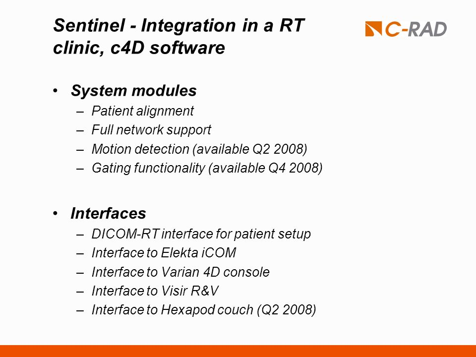 Sentinel - Integration in a RT clinic, c4D software