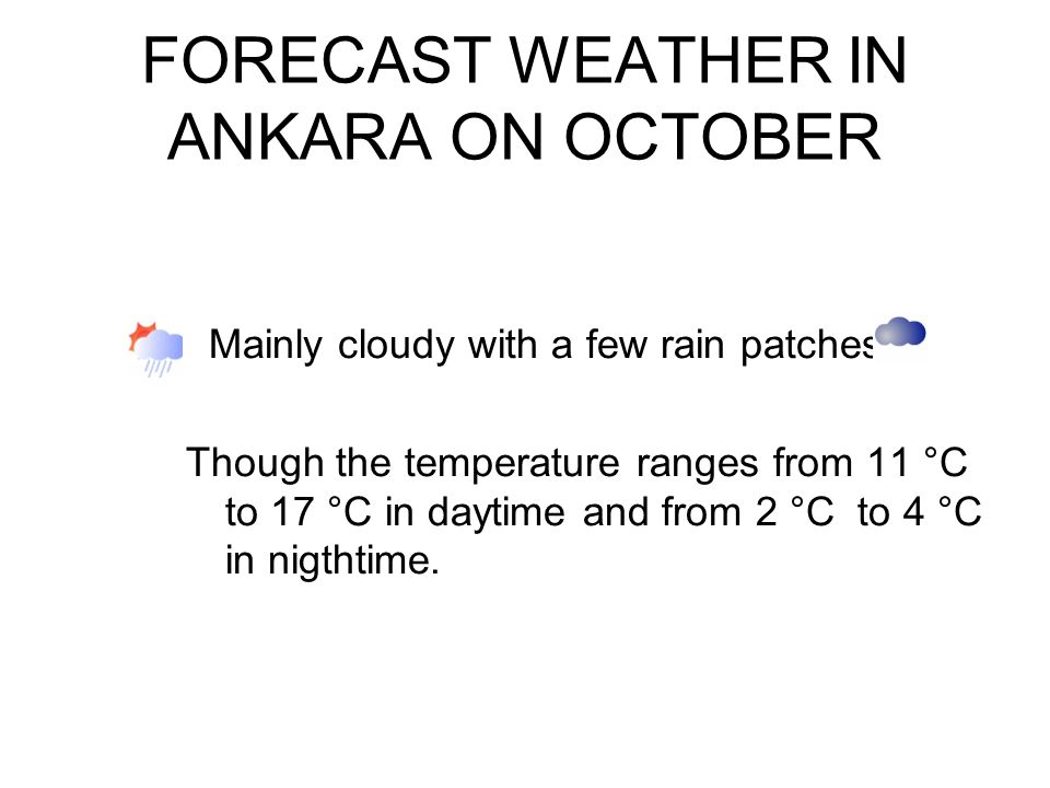 FORECAST WEATHER IN ANKARA ON OCTOBER