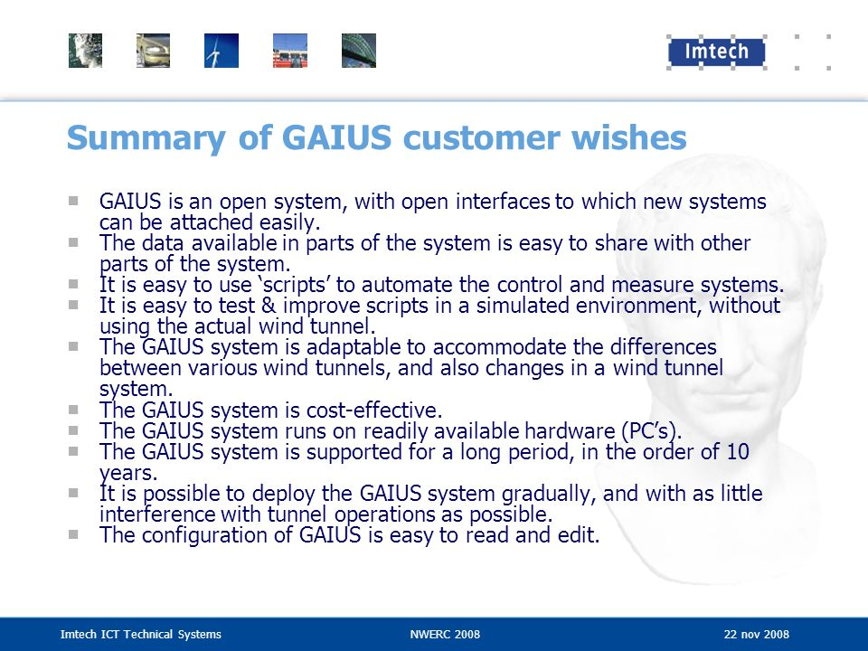 Summary of GAIUS customer wishes