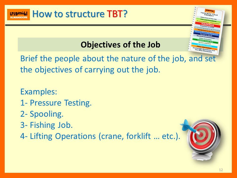 How to structure TBT Objectives of the Job
