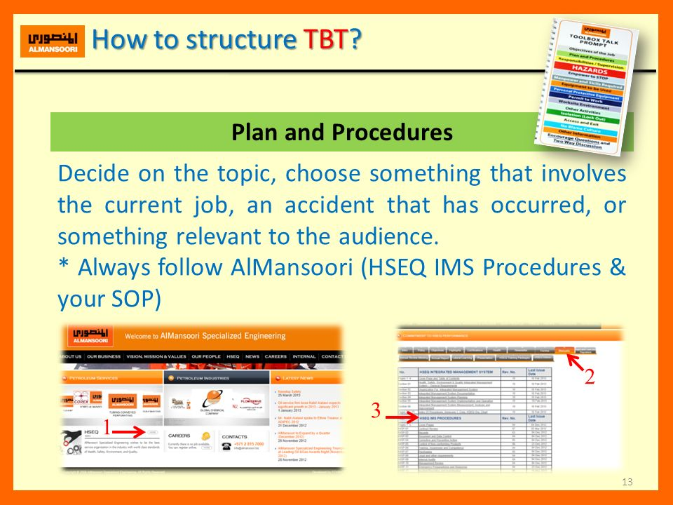 How to structure TBT Plan and Procedures