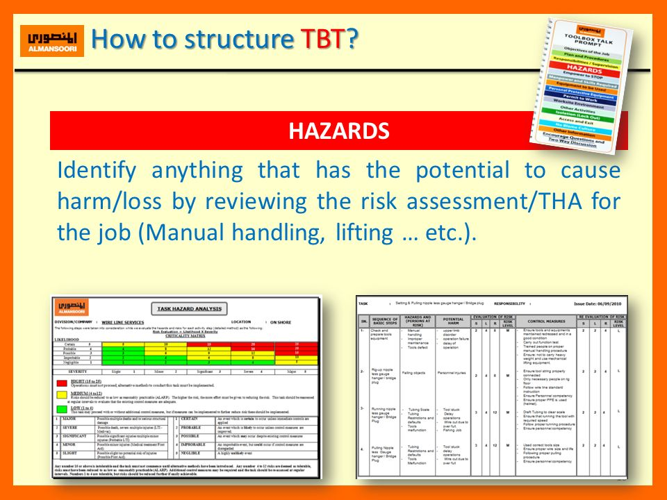 How to structure TBT HAZARDS