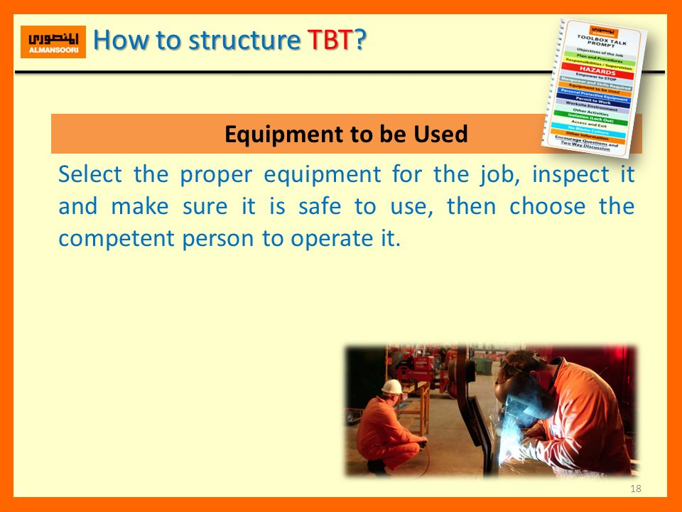How to structure TBT Equipment to be Used